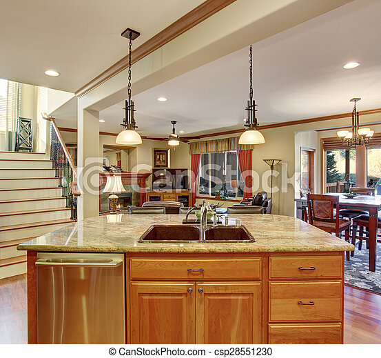 Traditional kitchen with marble counters. - csp28551230
