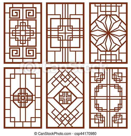Traditional Korean Door And Window Ornament Chinese Wall Design Japan Frames Vector Set  sc 1 st  Can Stock Photo & Traditional korean door and window ornament chinese wall design ...