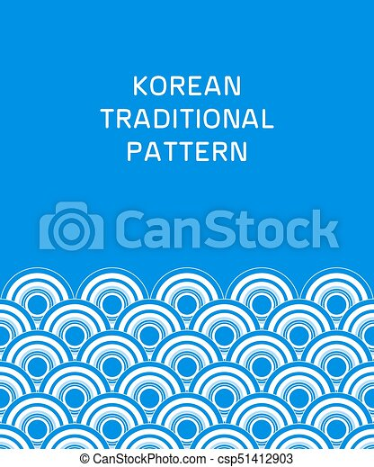 Traditional Korean Pattern Blue And White