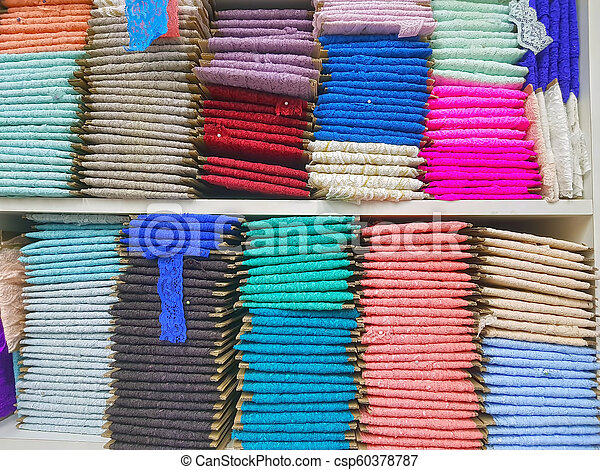 Traditional lace fabric for sale, in the market - csp60378787