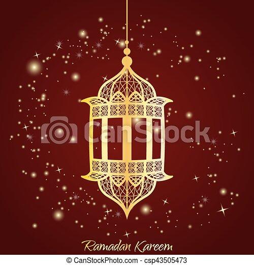 Traditional lantern of ramadan ramadan kareem greeting card with traditional lantern of ramadan ramadan kareem greeting card with glowing stars csp43505473 m4hsunfo