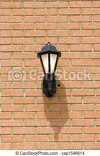 Traditional Light on Brick Wall - csp1546614