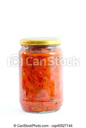 Traditional Macedonian food. Luteniitza in jar . homemade product - csp40527144