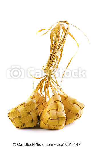 Traditional Malay compact glutinous rice called Ketupat for celebrations  - csp10614147