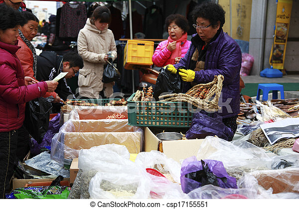 Traditional market in south korea - csp17155551