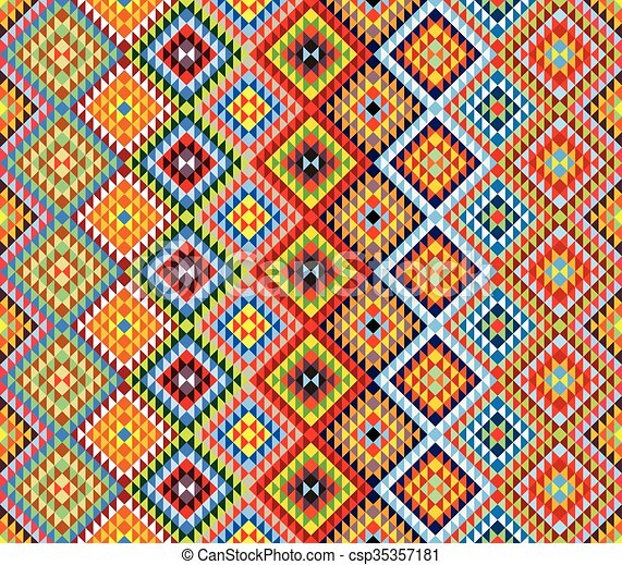 Traditional Mexican Colorful Ornamental Fabric Pattern