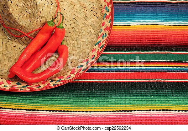 Traditional Mexican fiesta poncho rug  in bright colors with sombrero - csp22592234