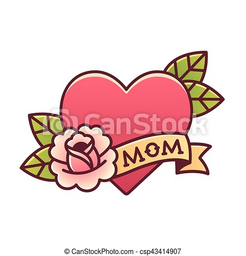 Traditional Mom Heart Rose Tattoo Tattoo Heart With Rose And Ribbon