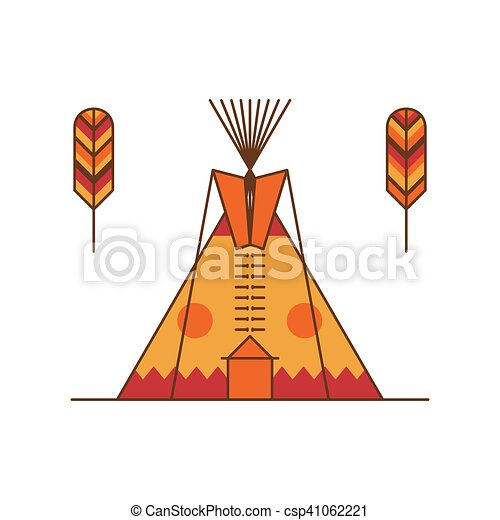 Traditional Native American Tipi And Feathers Indian Dwelling