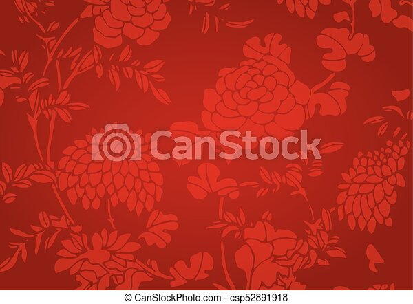 Traditional Flower Line Drawing : The traditional red gradient asian flower textured vector clip