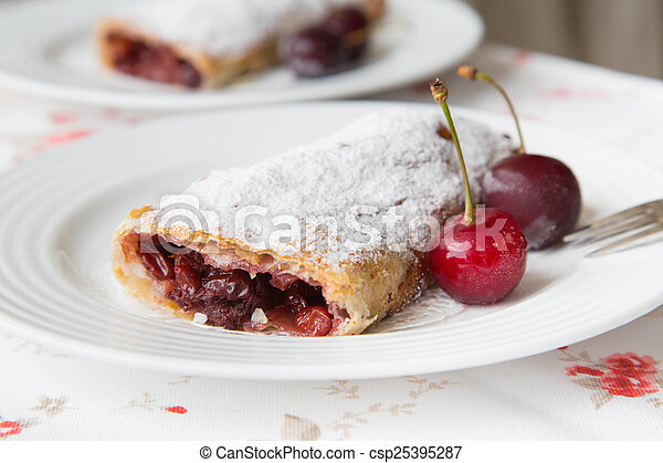 Traditional romanian and moldovan dessert with sour cherries - i - csp25395287