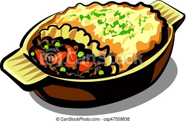 illustration of traditional shepherd pie in casserole rh canstockphoto com
