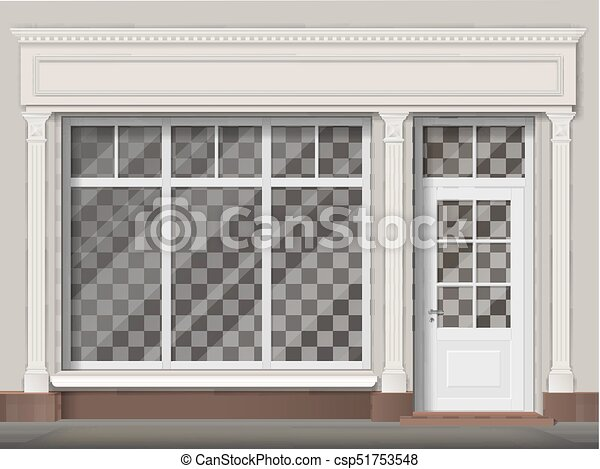 Traditional shop facade with big window and columns - csp51753548