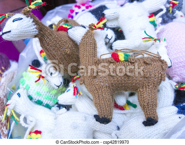 Traditional souvenirs at the market in La Paz, Bolivia. - csp42819970