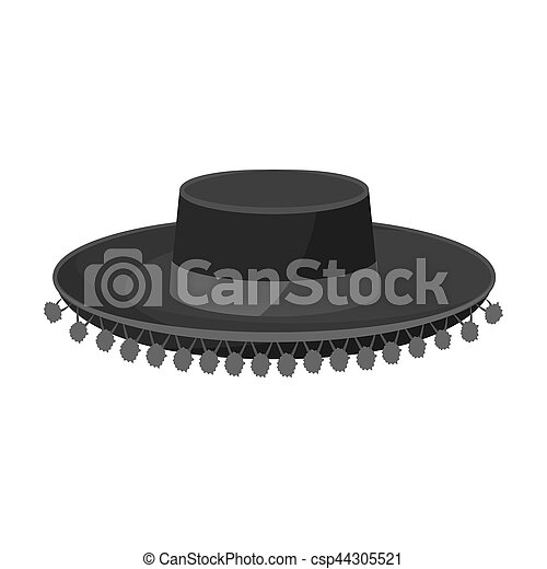 04dd05e789553 Traditional Spanish Hat Icon In Monochrome Style Isolated On White  Background. Spain Country Symbol