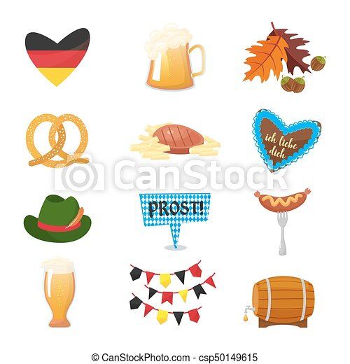 30fd0a36899 Traditional symbols of the Oktoberfest icons set. German national  Oktoberfest objects isolated on white background