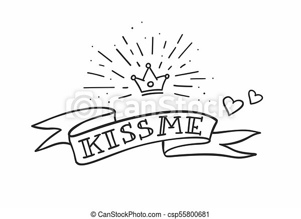 Traditional Tattoo Design With Ribbon Hearts And Crown Kiss Me Fancy Quote Vector Illustration