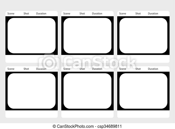 Traditional television 6 frame storyboard template. Professional of ...