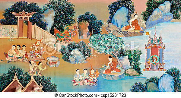 Traditional Thai mural painting - csp15281723