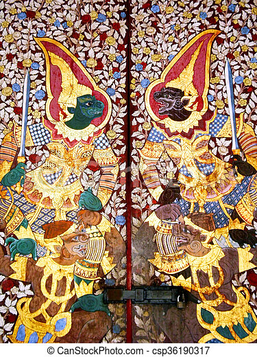 Traditional Thai painting art about Ramayana story on display at the temple  wall