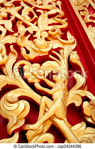 Traditional thai style wood engraving. wood carving patterns on the