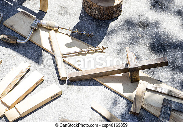 Traditional tools sculptor, wood, hammers and chisels for working stone