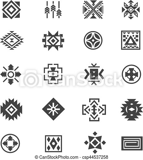 Traditional Tribal Mexican Symbols Navajo Ethnic Culture Vector
