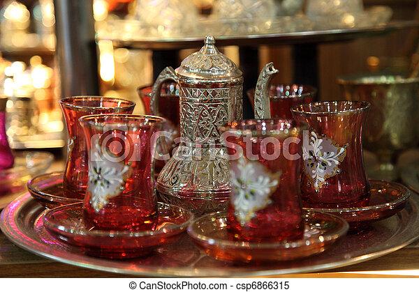 Traditional Turkish tea set at Grand Bazaar in Istanbul