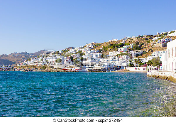 traditional white houses by the sea in Mykonos - csp21272494