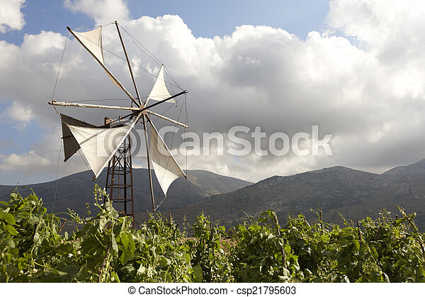 Traditional windmills in Lasithi plateau. Crete. Greece - csp21795603