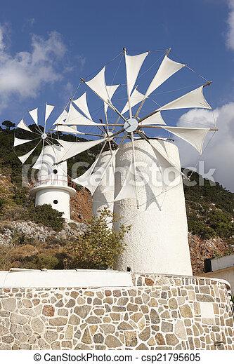 Traditional windmills near Lasithi plateau. Crete. Greece - csp21795605