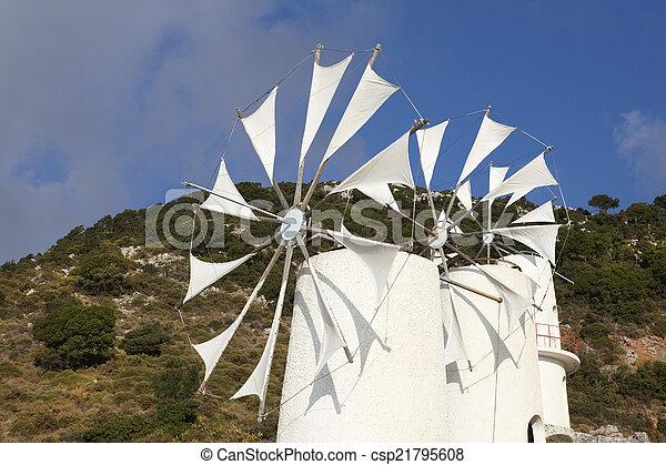 Traditional windmills near Lasithi plateau. Crete. Greece - csp21795608