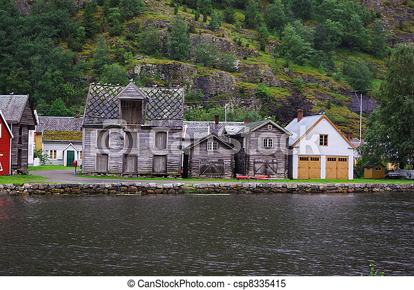 Traditional wooden houses in Lyrdal, Norway - csp8335415