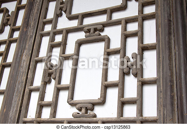 Traditional wooden window frames in a farmyard, china.