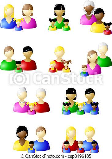 traditionele , niet, set, families, pictogram - csp3196185