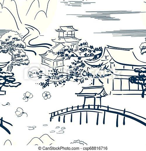 traditionele , schets, model, japanner, symbolen, vector, beweegreden - csp68816716