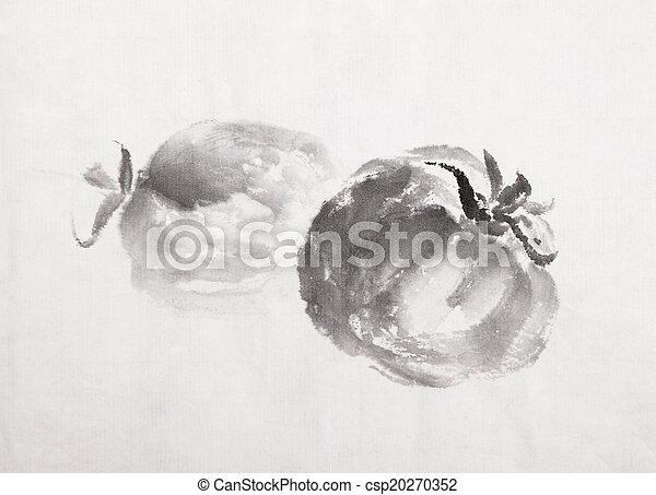 traditionele , wassen, schilderij, chinees, inkt - csp20270352
