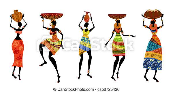 Afrikanische Frauen in traditionellem Kleid - csp8725436