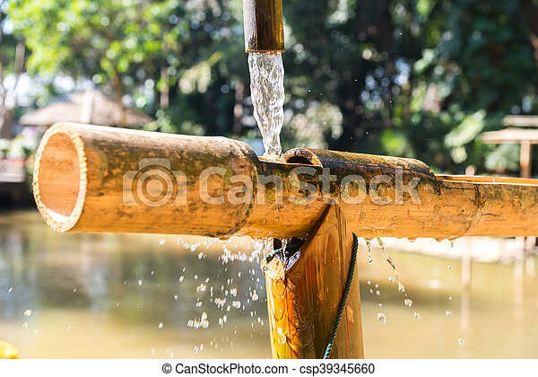 Traditionelle Bambus Brunnen Traditionelle Japan Bambus Brunnen