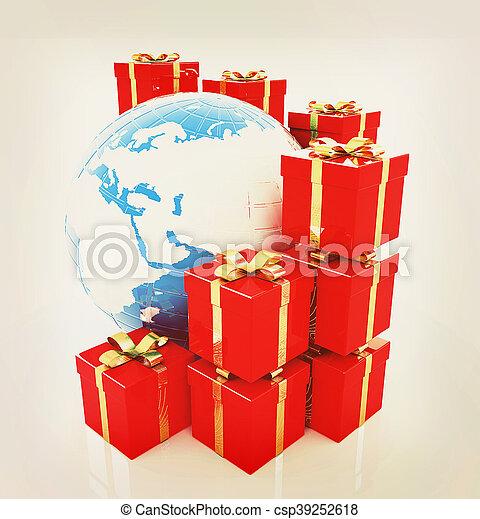 Traditionelle Weihnachtsgeschenke.Traditionelle Begriff Illustration Weinlese Global