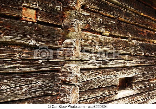 Traditionelle , daheim, holzstamm. Wand, traditionelle , altes ...
