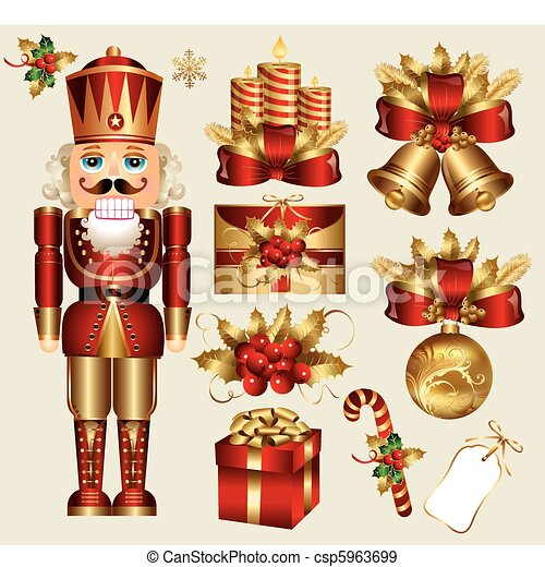 traditionelle , elemente, weihnachten - csp5963699