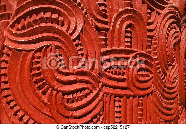 traditionelle , hölzern, sie, maori, zeichen - csp52215127