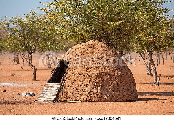 Traditionelle Hütten von Heba-Leuten - csp17004591