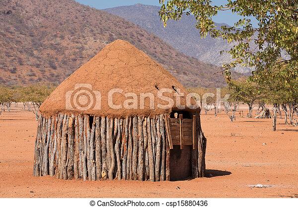 Traditionelle Hütten von Heba-Leuten - csp15880436