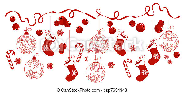 Horizontale Grenze mit traditionellen Weihnachtssymbolen. - csp7654343