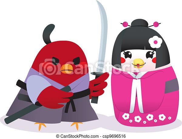 Traditionelle japanische Vögel - csp9696516