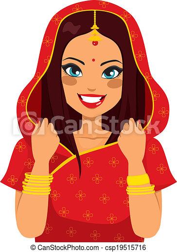 traditionelle, kvinde, indisk - csp19515716