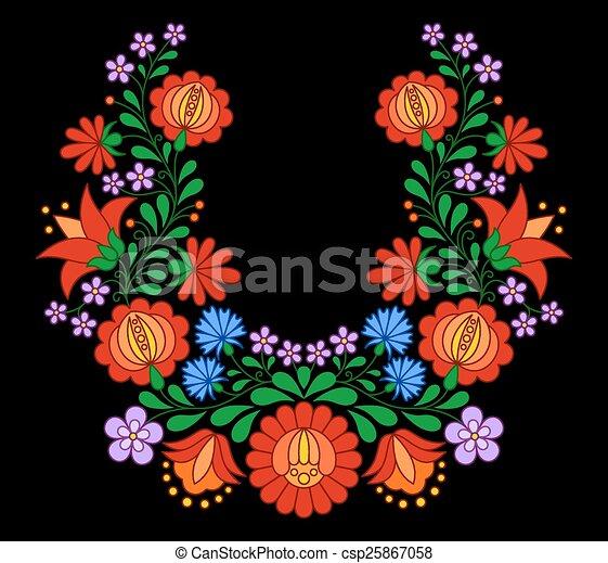 traditionelle, mønster, ungarsk, folk, broderi - csp25867058