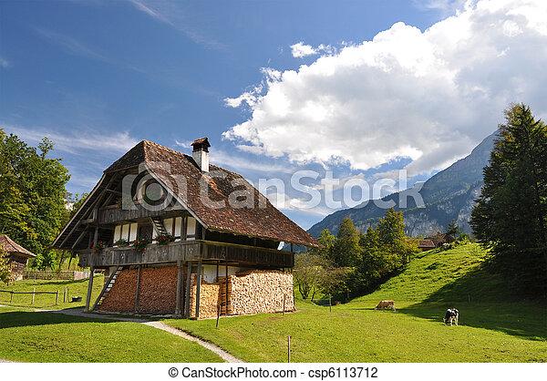 traditionelle , schweizerisch, landhaus - csp6113712